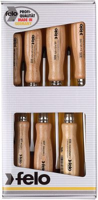 Felo 18108 Wooden Handle Screwdriver Set