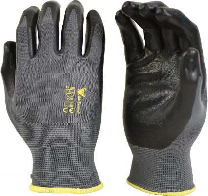 G & F 15196L Seamless Nylon Knit Nitrile Coated Work Gloves