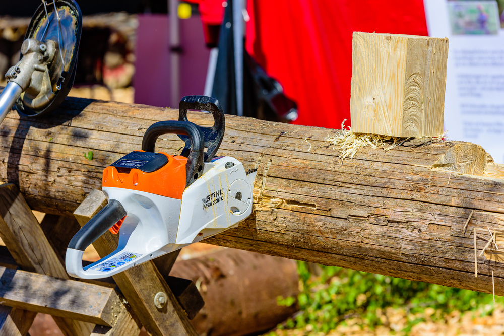 orange and white chainsaw cut into a tree trunk