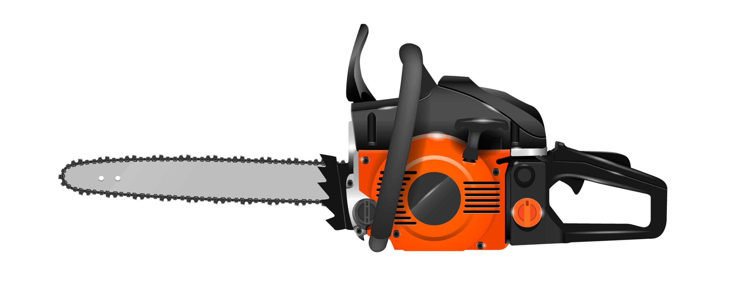 side view of chainsaw
