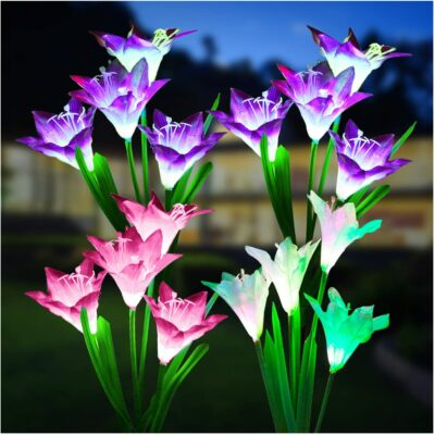 KOOPER 4 Pack Solar Garden Flower Lights