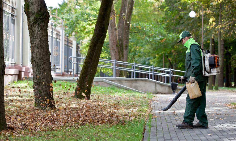 man using backpack cordless leaf blower