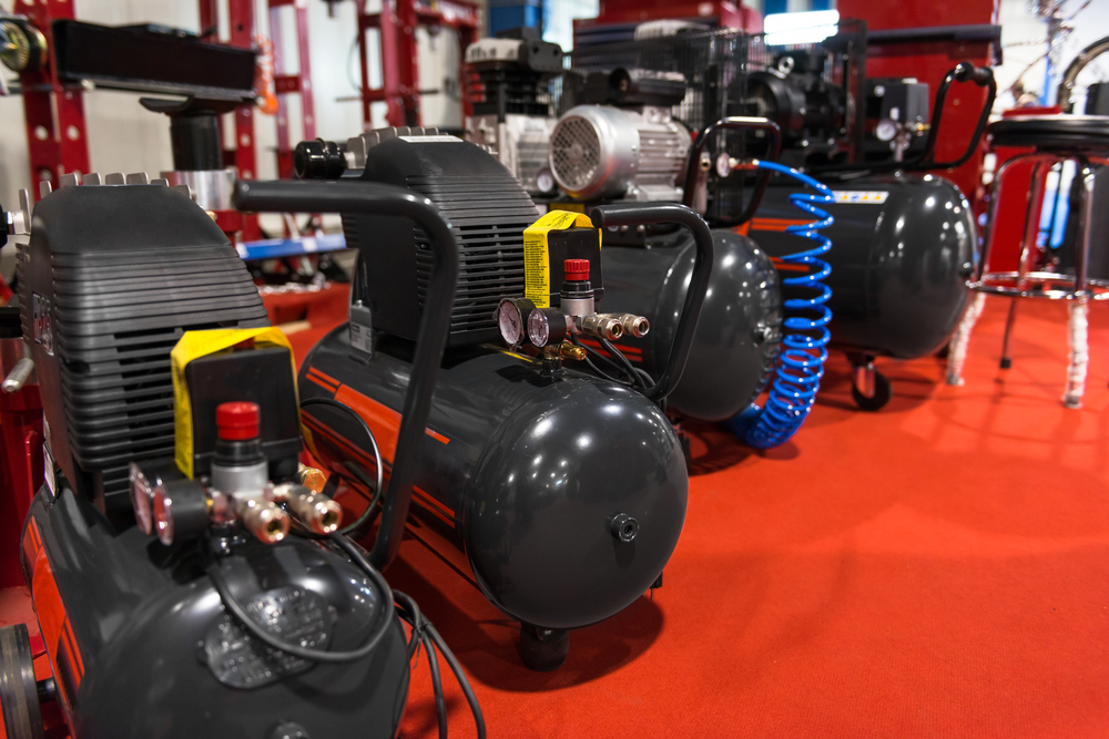 multiple air compressors lined up