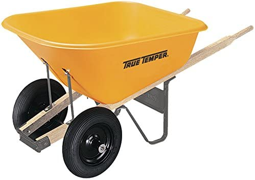 True Temper Dual Wheel Poly Wheelbarrow