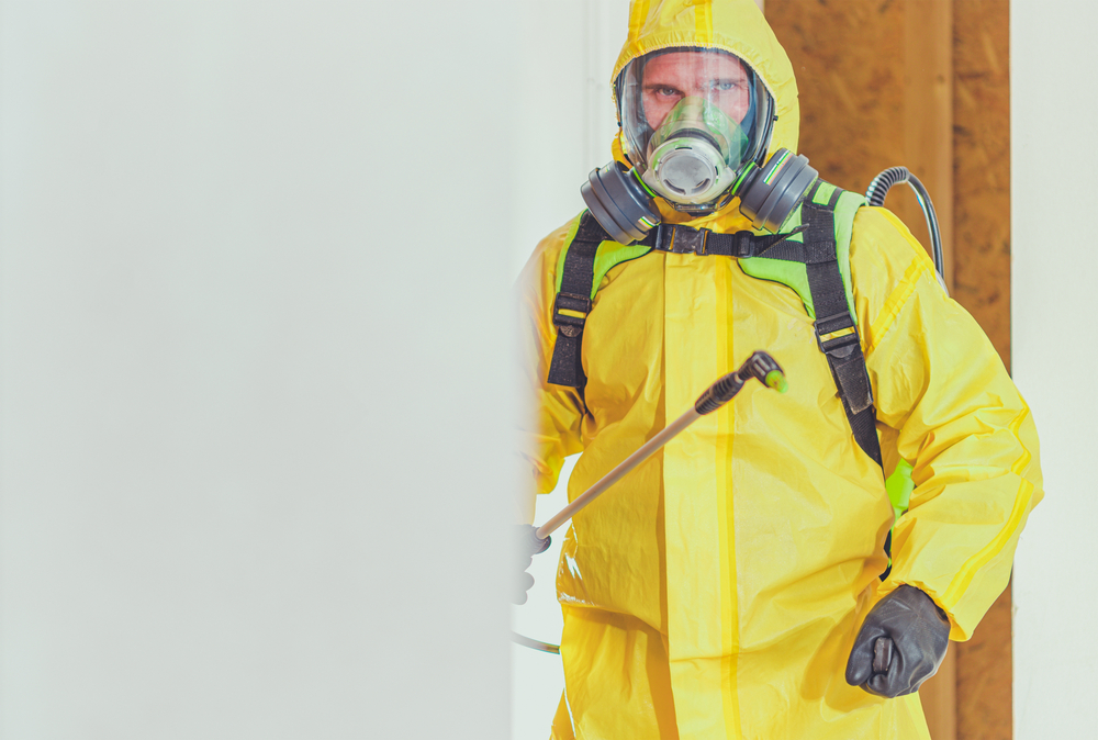 man wearing personal protective equipment