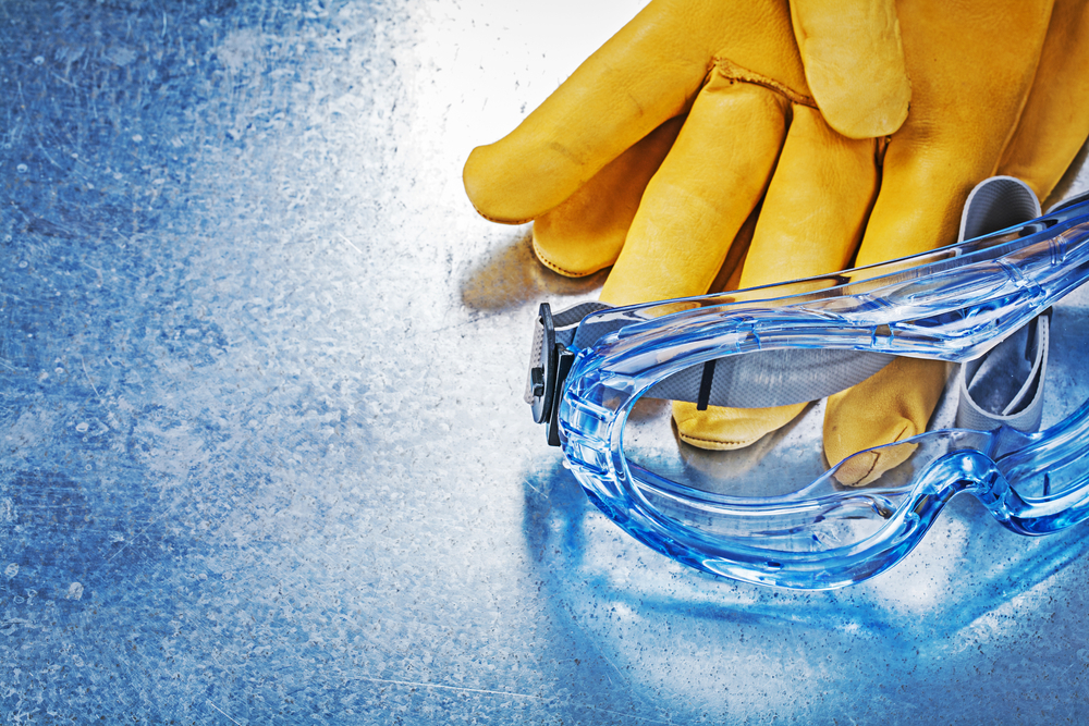 Rubber gloves and goggles