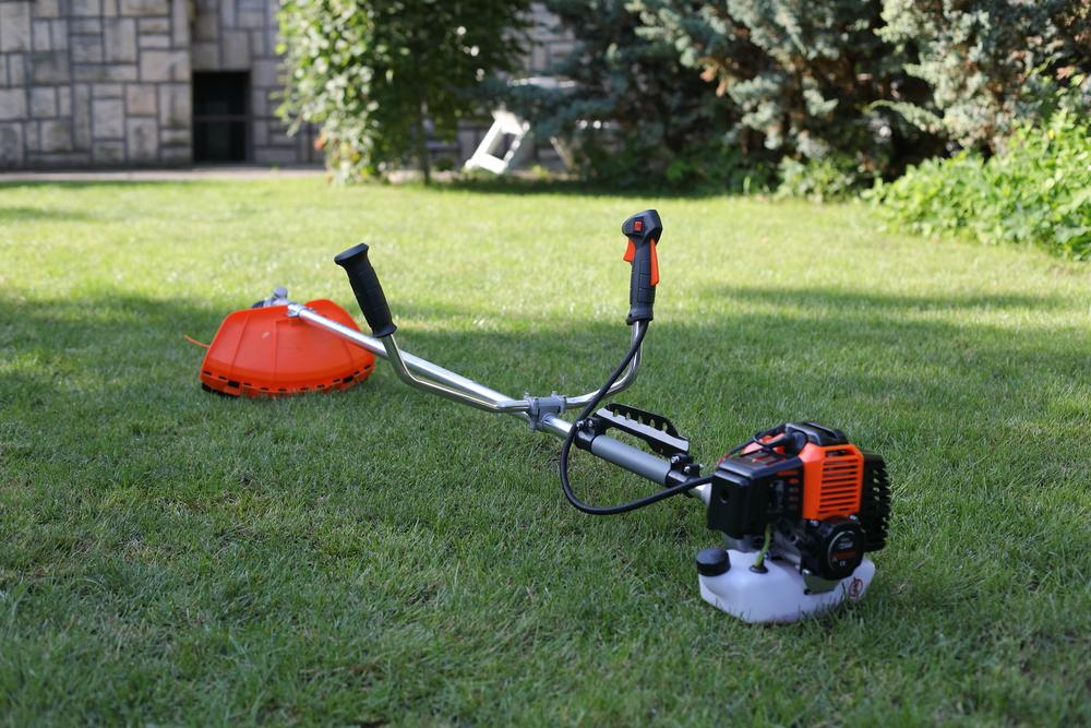 brush cutter on the grass