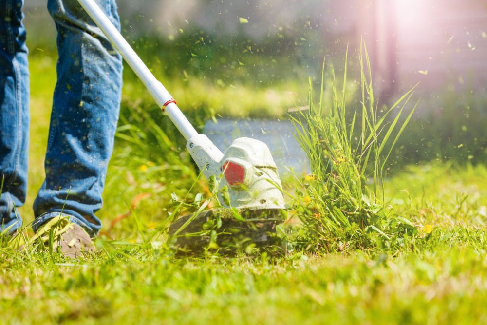 close up of person using brush cutter on grass