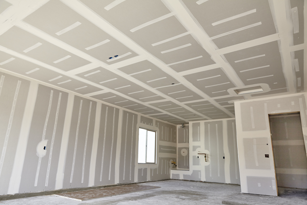room with drywall tape