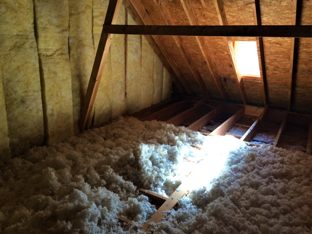 blown-in insulation in attic