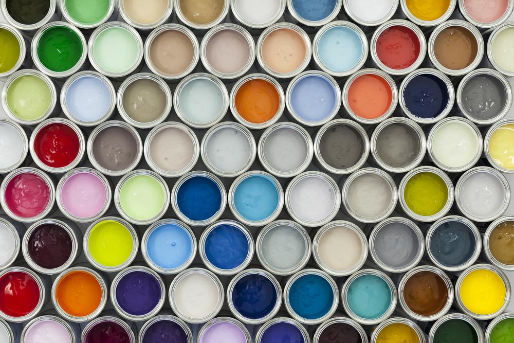 multi-colored paint sample pots