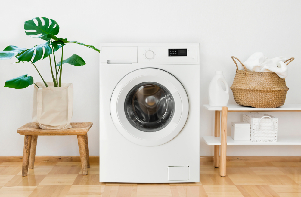 A white washing machine sitting in between a plant and some shelves