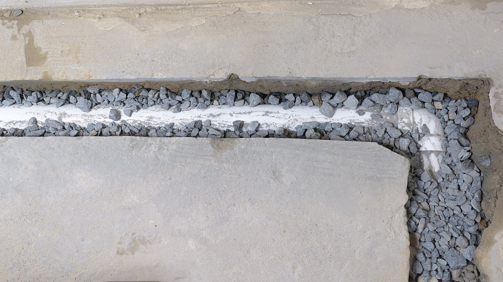 An unfinished French drain
