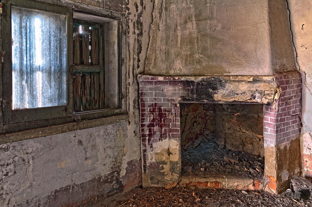 Old, damaged fireplace