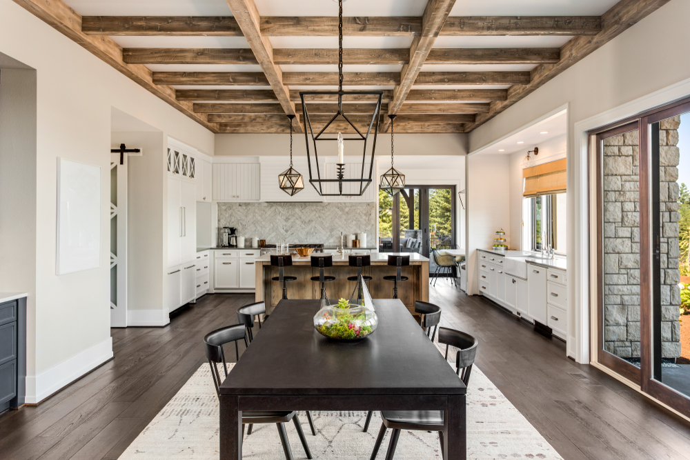 beam ceiling in a dining room