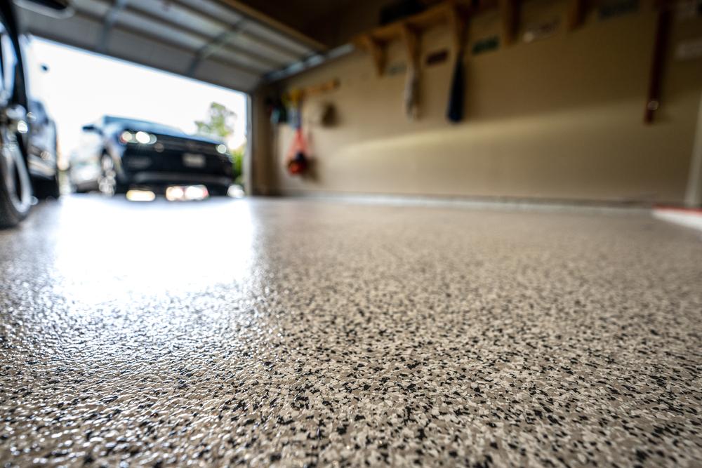 close up of an epoxy garage floor.