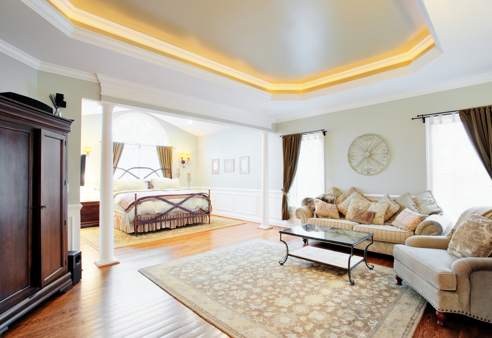 cove ceiling in a master bedroom