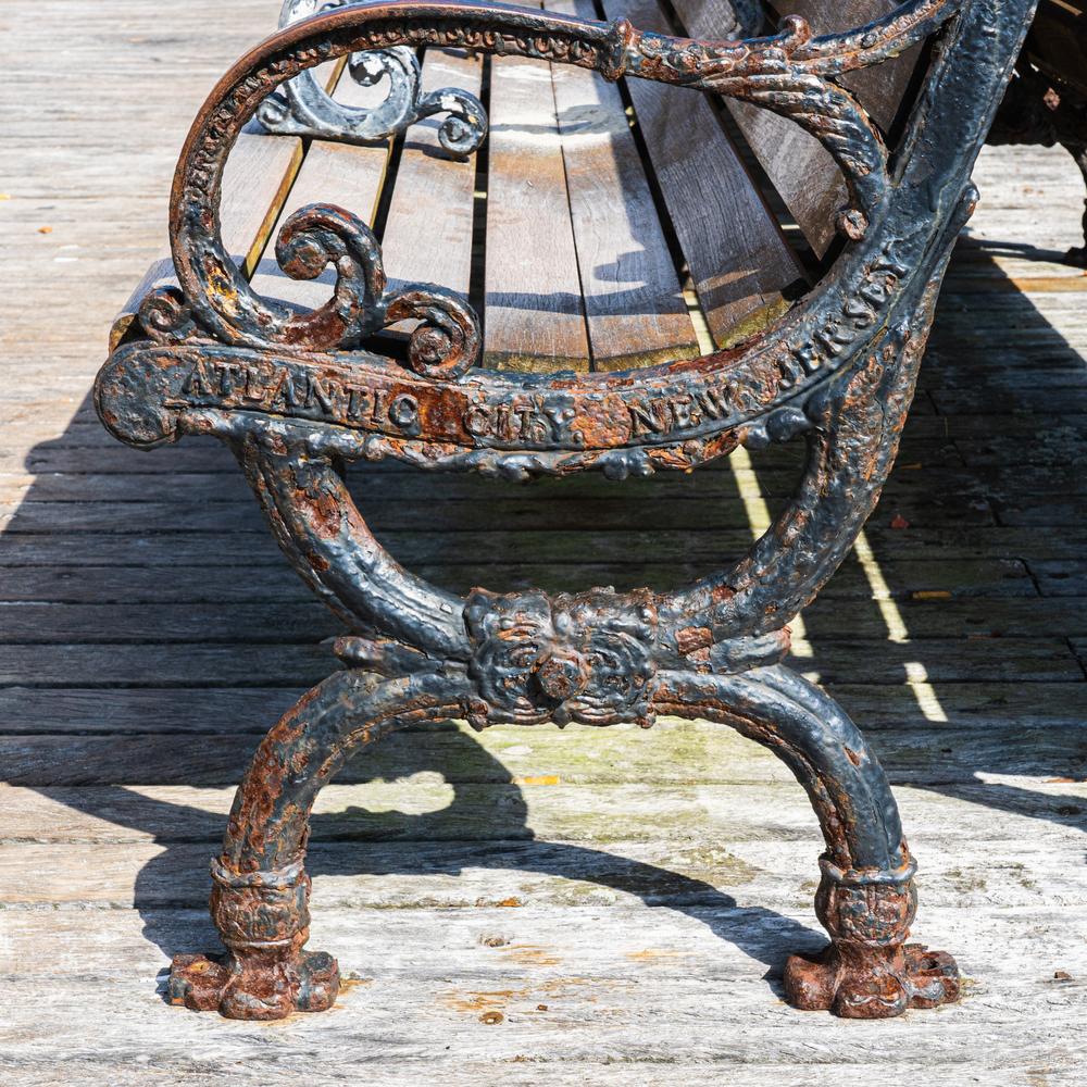 rusty cast iron bench