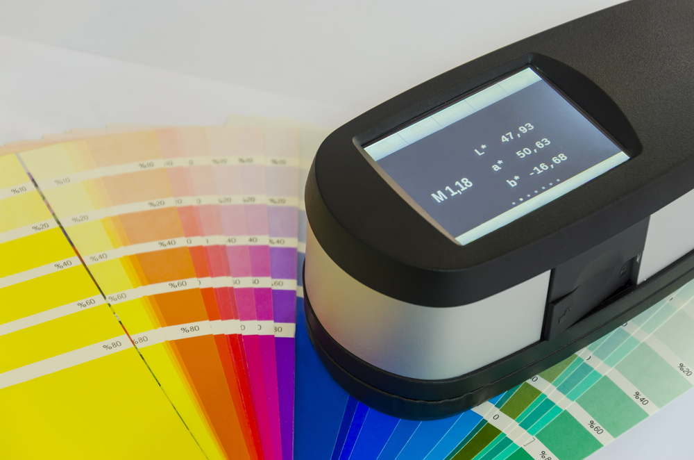 spectrophotometer on color swatches