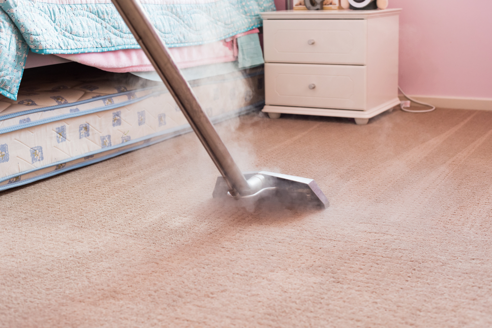 steam cleaning pink carpet in bedroom