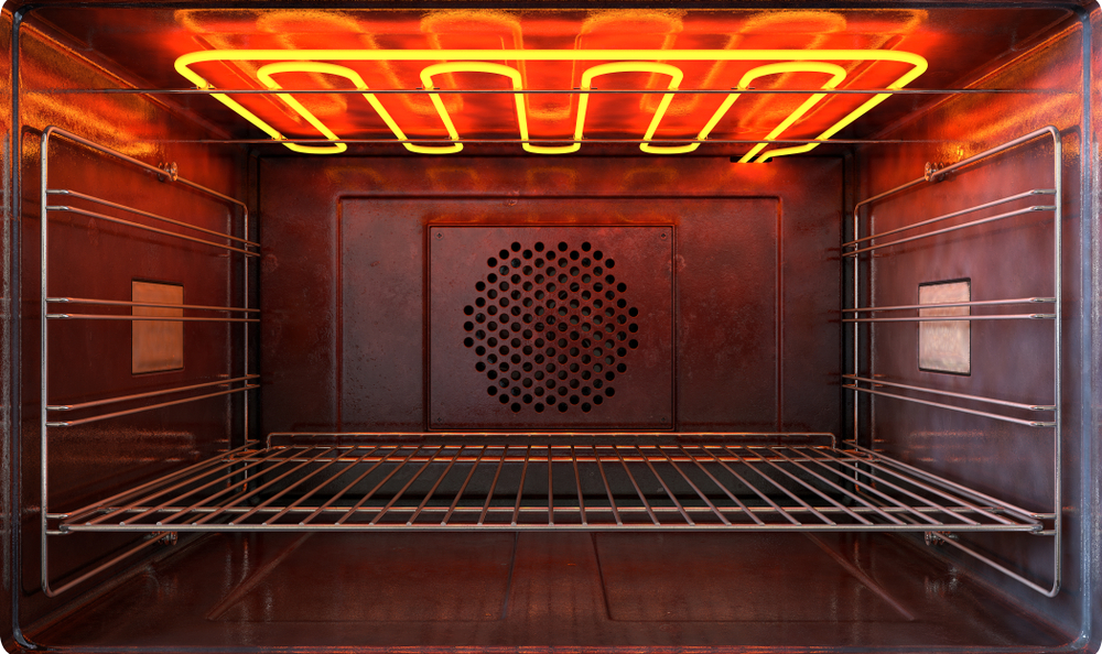 the inside of an oven with a hot heating element
