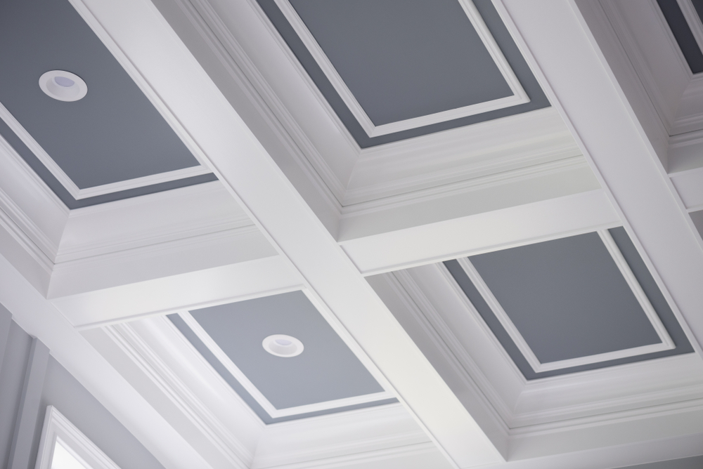 white and gray coffered ceiling