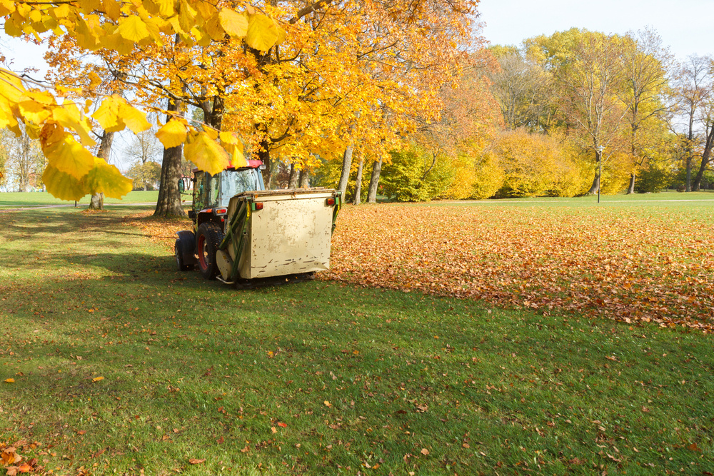 lawn sweeper towed by tractor