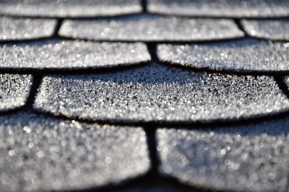 close up asphalt shingles