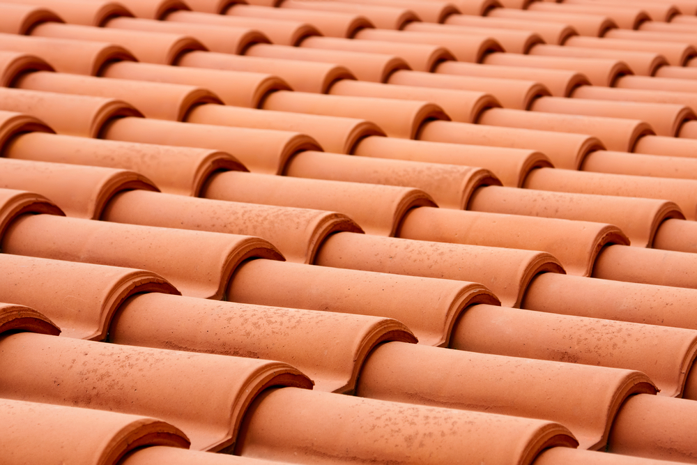 close up clay tile