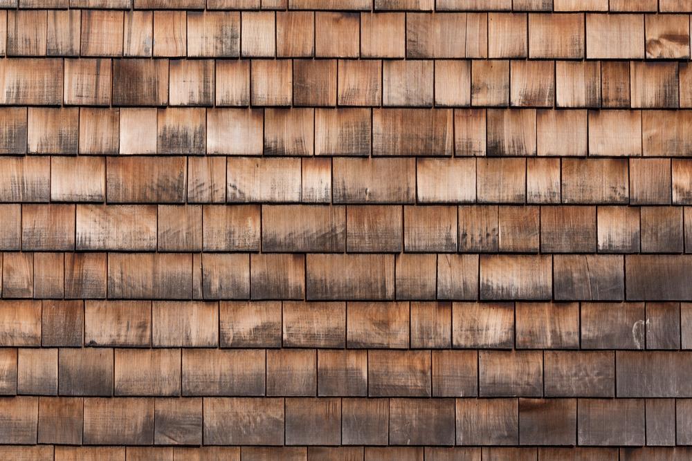 close up wood shingles